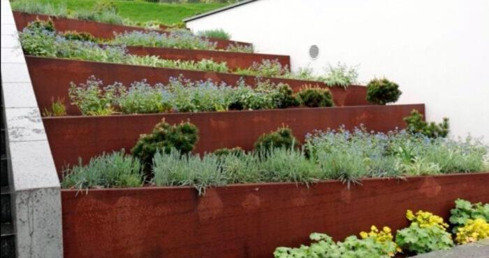 bancales continuos material diseño jardin acero corten