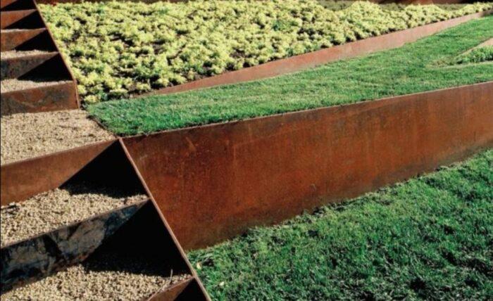 bancales material diseño jardin acero corten
