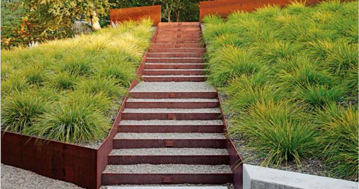 escaleras jardin en acero corten