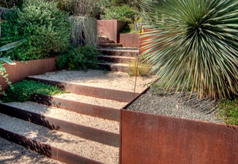 escaleras y bancales acero corten