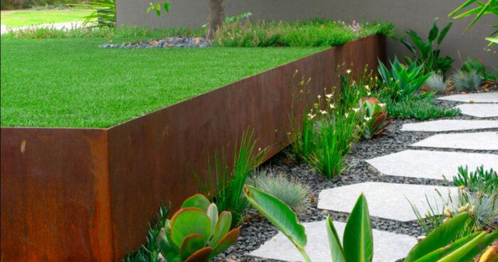 murete de acero corten jardin