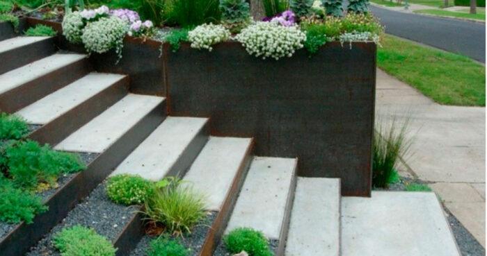 muro bancal jardin acero corten